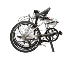| variant=black, allow-fullscreen, folded silver and black zizzo liberte lightweight folding bicycle, great for recreation and bicycle commuting.