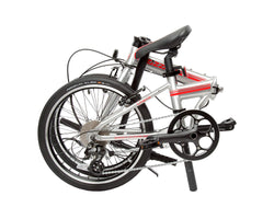 | variant=red, allow-fullscreen, folded side profile view silver and red zizzo liberte lightweight folding bicycle, great for recreation and bicycle commuting.