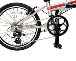 | variant=red, allow-fullscreen, the drivetrain on a silver and red zizzo liberte lightweight folding bicycle, great for recreation and bicycle commuting.