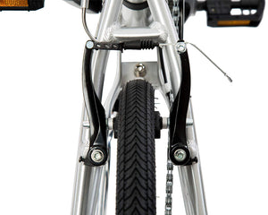 | variant=black, allow-fullscreen, rear v brakes on a silver and black zizzo liberte lightweight folding bicycle, great for recreation and bicycle commuting.