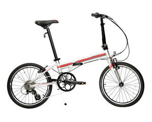 featured image | variant=red, featured=yes, allow-fullscreen, side profile view silver and red zizzo liberte lightweight folding bicycle, great for recreation and bicycle commuting.