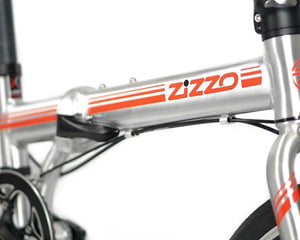 feature=lightest, allow-fullscreen, the lightweight frame on a silver and red zizzo liberte lightweight folding bicycle.