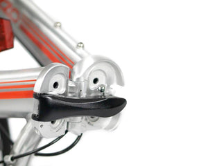 feature=folding-joint, allow-fullscreen, reinforced folding joint on a silver and red zizzo liberte lightweight folding bicycle.