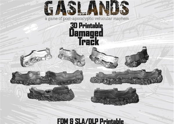 Gaslands Damaged Track - 3D Printable