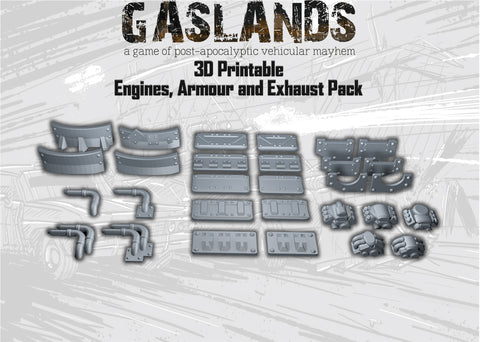 Gaslands Engines, Armour and Exhaust Pack! - 3D Printable