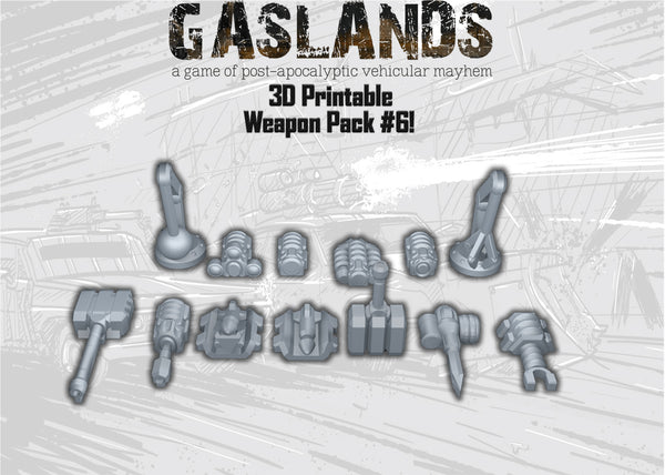 Gaslands Weapon Pack 6 - 3D Printable