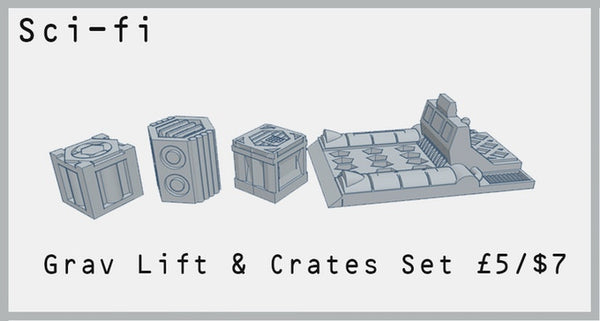 Sci-fi Grav Lift & Crates Set