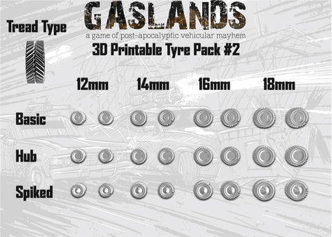 Gaslands Tyre Pack #2 - 3D Printable