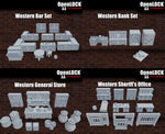 Western Bundle - Western Bar, Western Bank, Sheriffs Office and General store - Digital Download