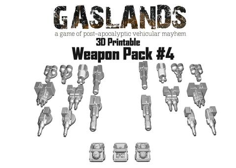 Gaslands Weapon Pack #4 - 3D Printable
