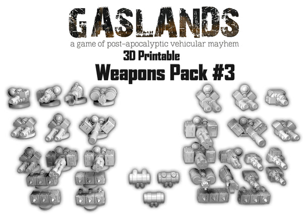 Gaslands Weapon Pack #3 - 3D Printable