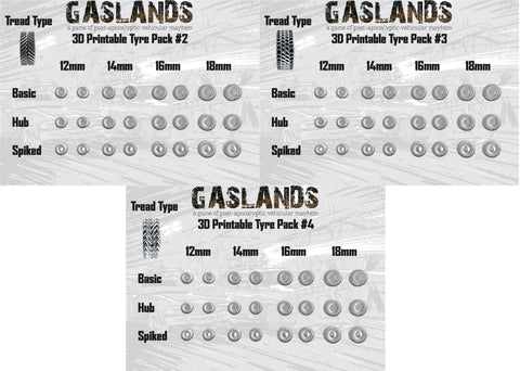 Gaslands Tyre Pack #2 #3 #4 - Bundle - 3D Printable