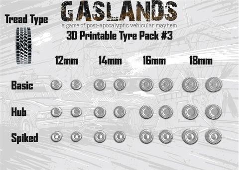 Gaslands Tyre Pack #3 - 3D Printable