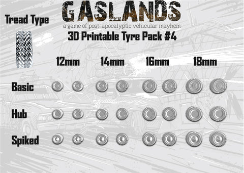 Gaslands Tyre Pack #4 - 3D Printable