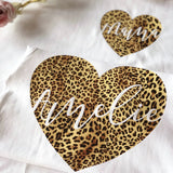 Childrens Personalised Leopard Print Heart T-Shirt