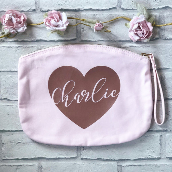 Pastel Pink Personalised Cosmetic Bag