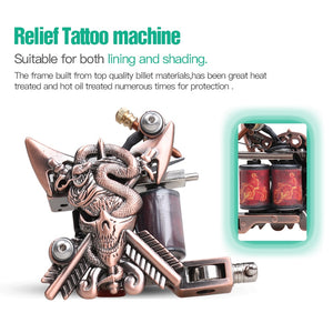 Beginner Complete Tattoo Kit Supplies 2 Machine Guns Power supply Needles Grip Tip Set HW-10GD
