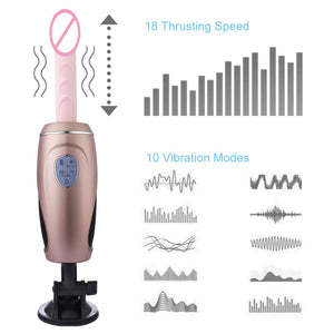 HISMITH Multi-frequency Thrusting sex machine dildo and suction cup adult toys for women