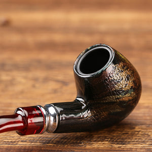 Fashion Snake Scale Resin Pipes Chimney Double Filter Wood Pipe Tob