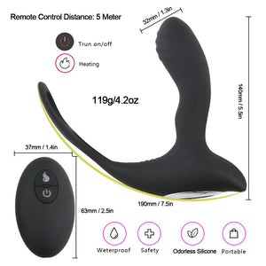 Remote Control Prostate Massager Anal Plug With Ring Vibrator With Heating Anal Vibrator Sex Toys for Men