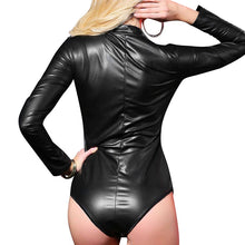 Babydoll Sexy Women Bodystocking PU Leather Teddy Lingerie Zipper Up Long Sleeves Bodycon Bodysuit