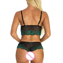 Two Piece Set Women Sexy Erotic Lingerie Bra Underwear See-Through Lace Sleepwear Nightwear