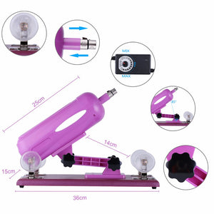 Upgraded Sex Machine for women with 7 different free attachments, Speed Angle Adjustable Purple Color AU plug