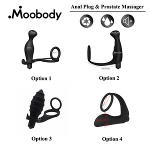 Silicone Anal Plug Prostate Massage Vibrator G-spot Butt Plug Dildo Delay Ring Erotic Prostate Massager Anal sex toy.