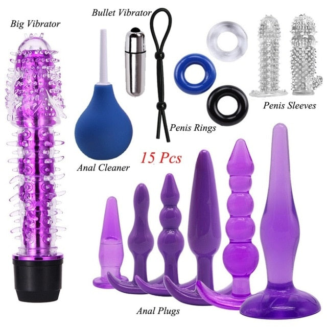Women Men Vibrator Kit Lock Rings Kegel Ball Anal Plug Sex Toys Set