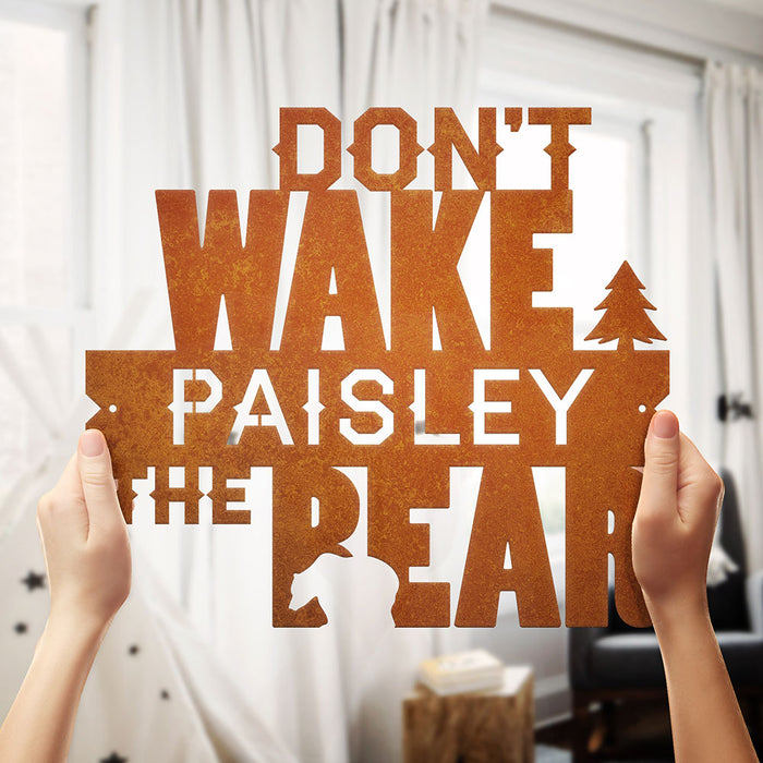 """Don't Wake the Bear"" Personalized Steel Sign"