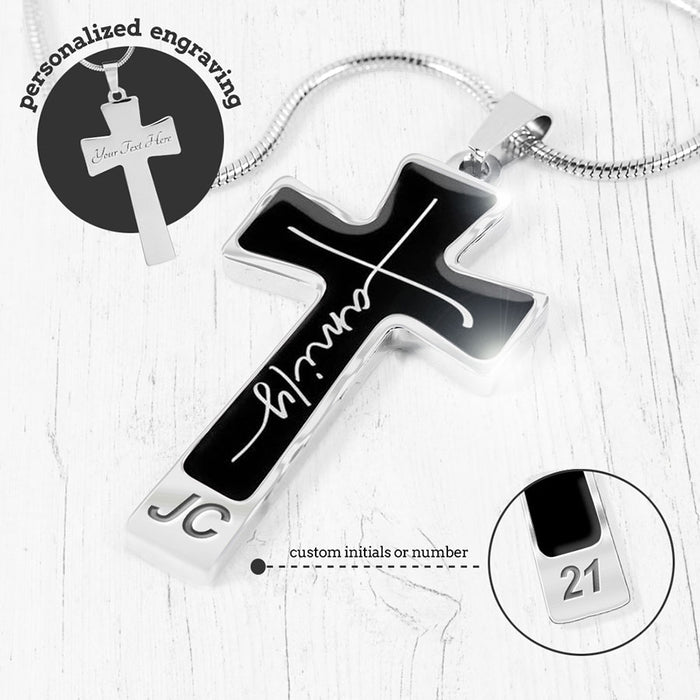 """Faith + Family"" Cross Necklace"