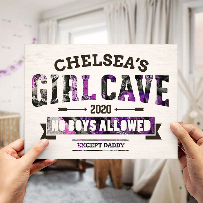 "Personalized Purple Camo ""Girl Cave"" Sign"