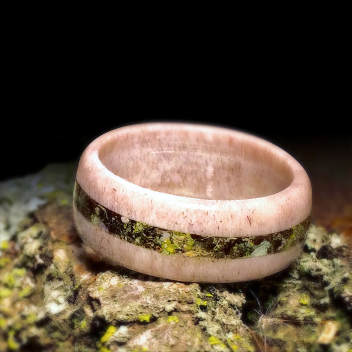 Antler Ring with Bark/Moss Inlay