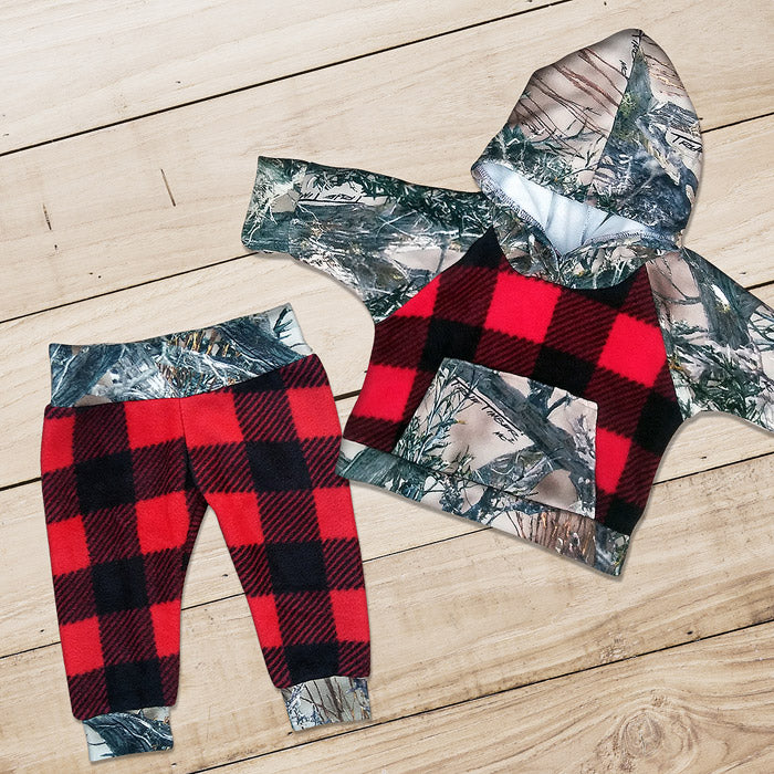 Camo & Buffalo Plaid Sweat Set