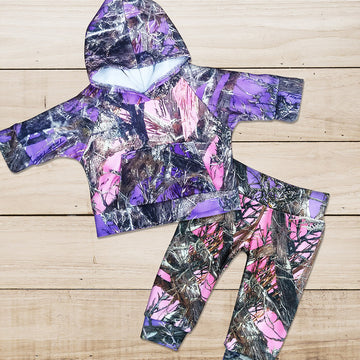 Pink & Purple Camo Sweat Set