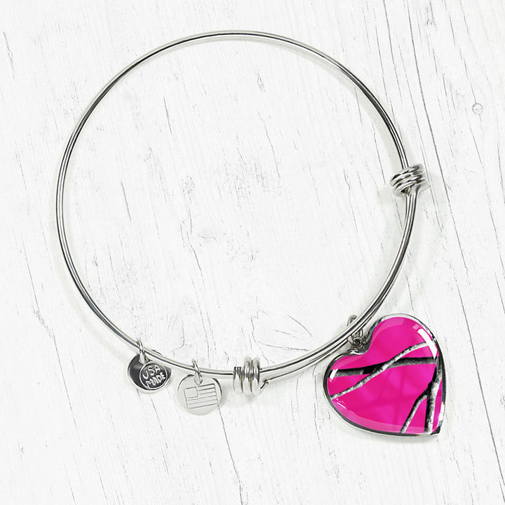 Hot Pink Camo Heart Bangle