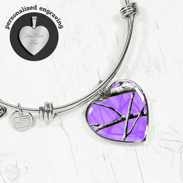 Purple Camo Heart Bangle
