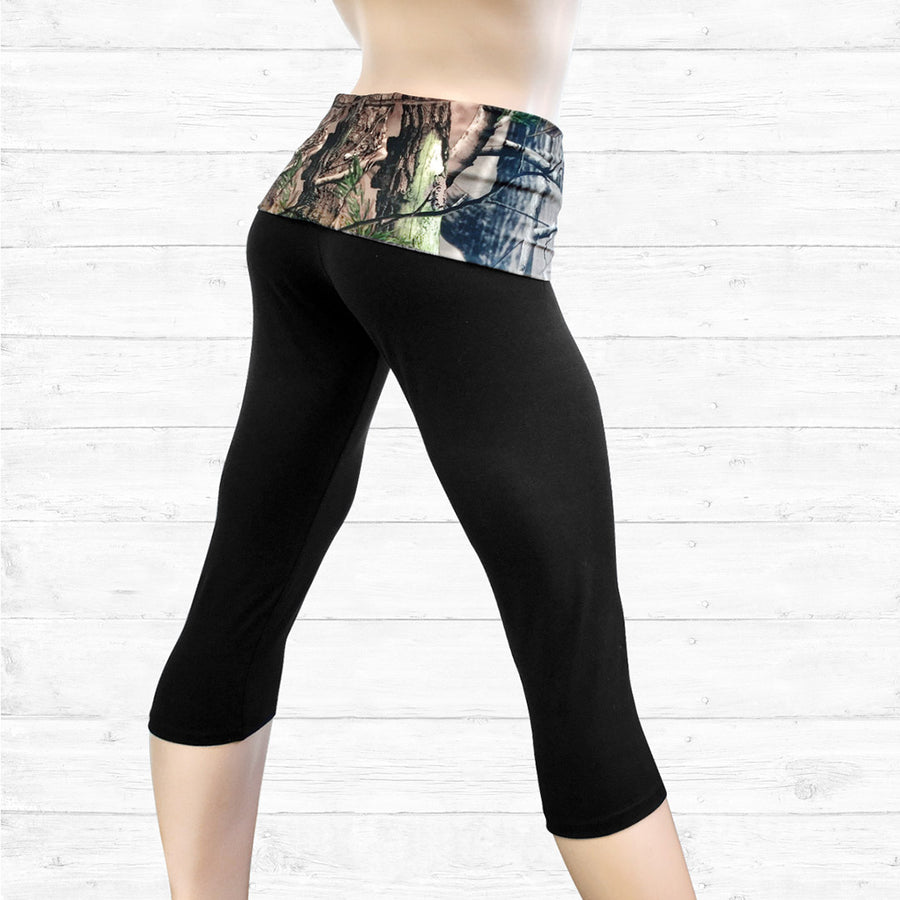 Black Capris with Camo Waistband