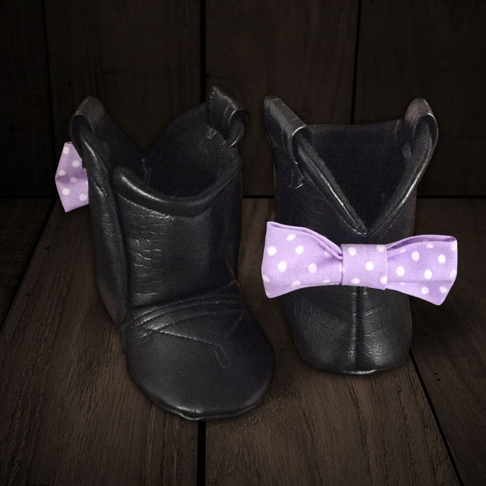 Baby's Cowboy Corral Boots - Black Faux-Alligator Leather, Purple Bow with White Polka-dots, Soft Felt Lining