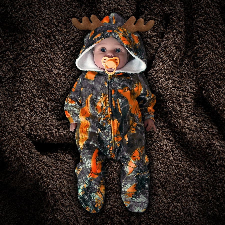 The Huntsie - Blaze (Orange) Camo Fleece Baby Jumpsuit with Hood and Antlers