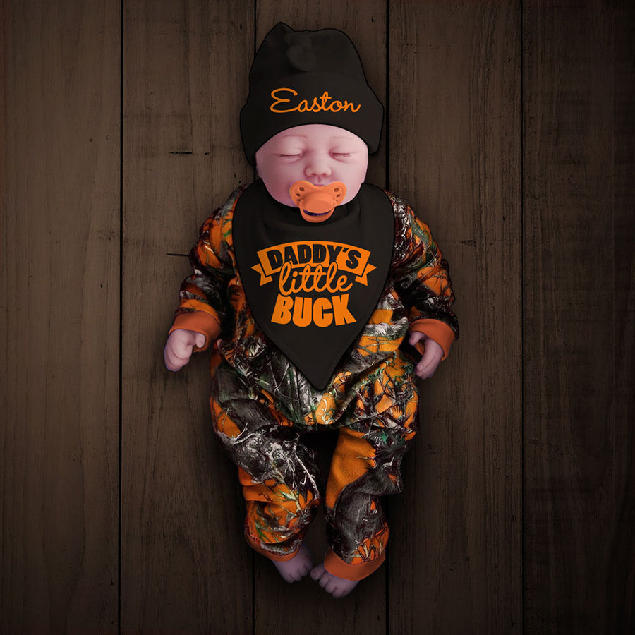 Blaze Camo Zip Onesie with Personalized Hat & DADDY'S LITTLE BUCK Bib