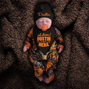 Blaze Orange Camo Zip Onesie with Personalized OH DEER! Hat & Bib