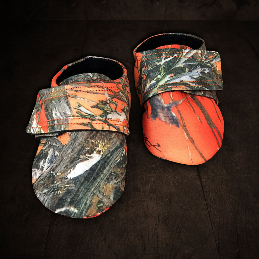 Baby's Slip-on Shoes - Blaze Camo with Velcro Strap, Soft Black Lining
