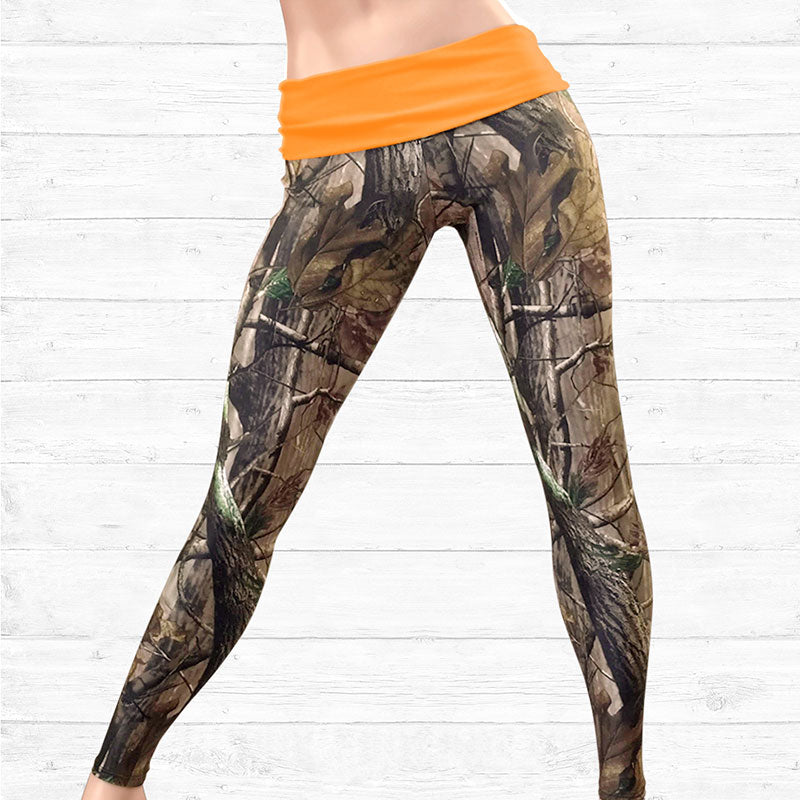 Camo Leggings with Blaze Orange Waistband