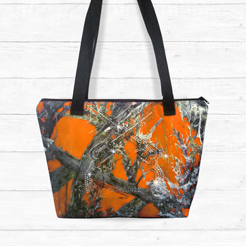 Blaze Camo Zip-up Shoulder Bag with Rhinestones