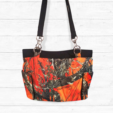 Blaze (Orange) Camo Handbag with Black Trim