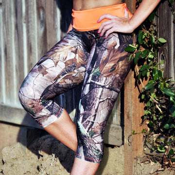 Camo Capris with Blaze Orange Waistband