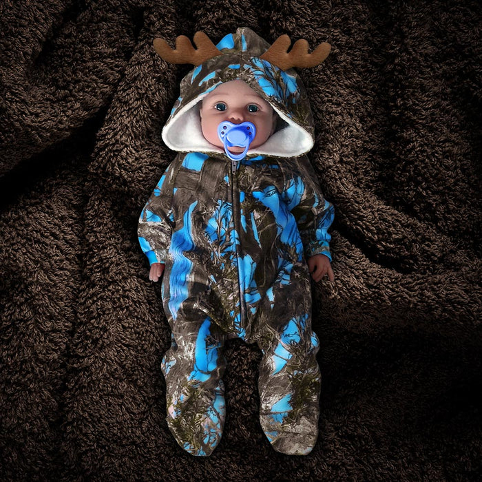 The Huntsie - Blue Camo Fleece Baby Jumpsuit with Hood and Antlers