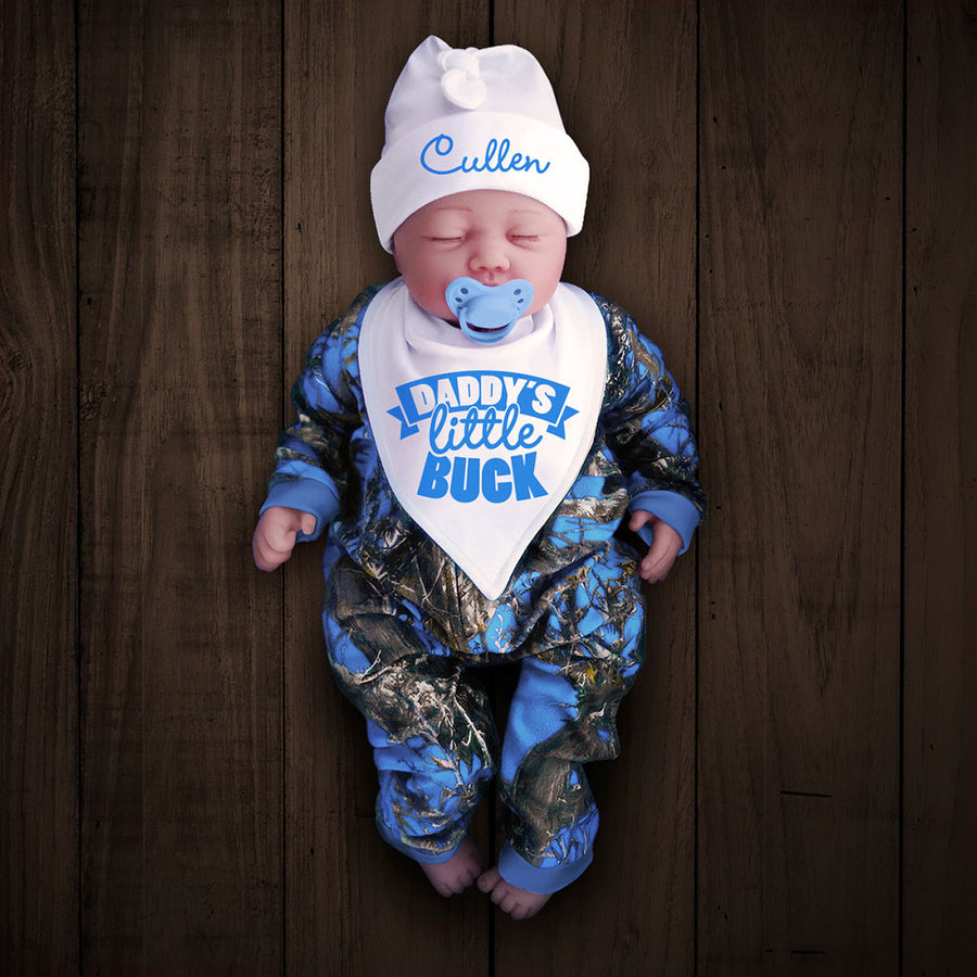 Blue Camo Zip Onesie with Personalized Hat & DADDY'S LITTLE BUCK Bib