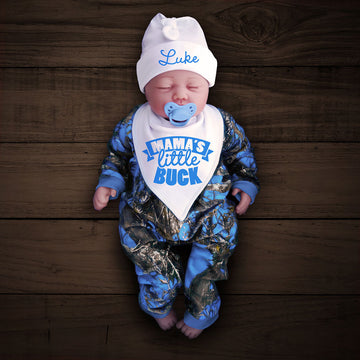 Blue Camo Zip Onesie with Personalized Hat & MAMA'S LITTLE BUCK Bib